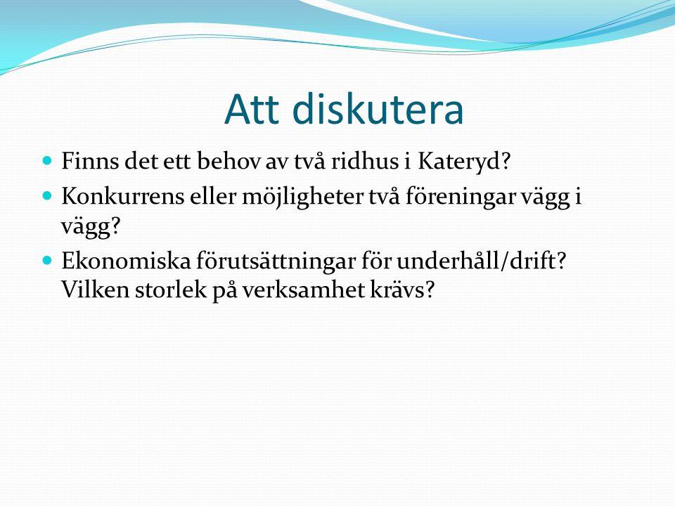 Att diskutera Finns det ett behov av två ridhus i Kateryd.