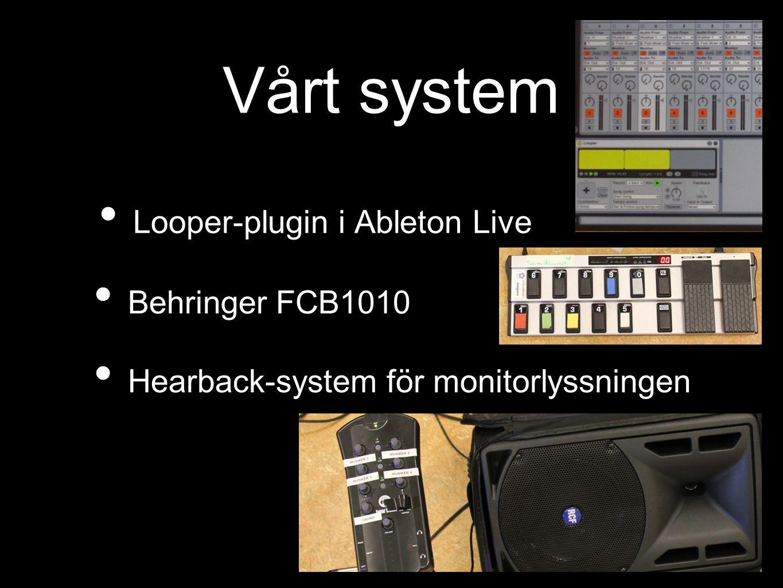 Vårt system Looper-plugin i Ableton Live Behringer FCB1010 Hearback-system för monitorlyssningen