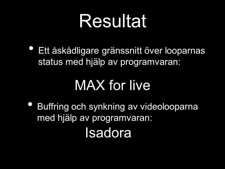 Resultat Ett åskådligare gränssnitt över looparnas status med hjälp av programvaran: Buffring och synkning av videolooparna med hjälp av programvaran: MAX for live Isadora