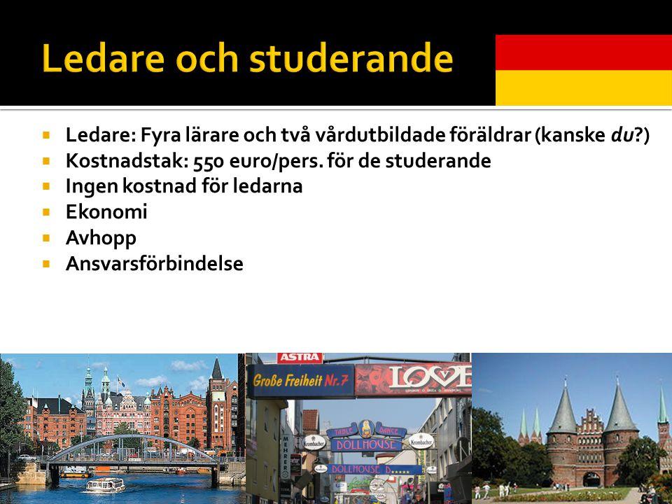  Ledare: Fyra lärare och två vårdutbildade föräldrar (kanske du )  Kostnadstak: 550 euro/pers.