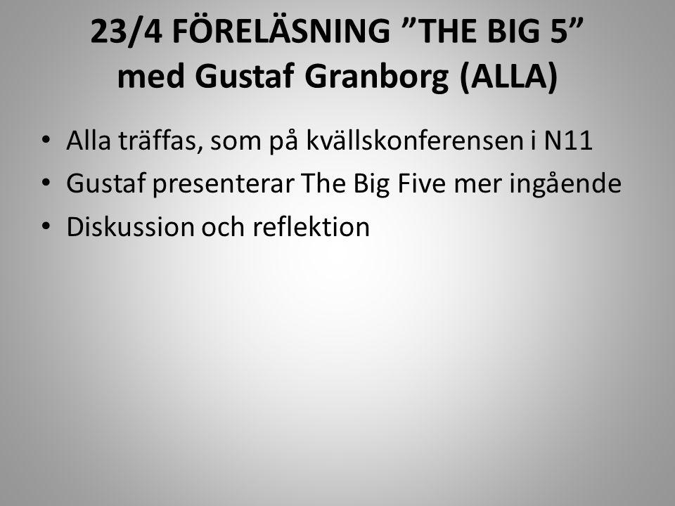 """23/4 FÖRELÄSNING """"THE BIG 5"""" med Gustaf Granborg (ALLA) Alla träffas, som på kvällskonferensen i N11 Gustaf presenterar The Big Five mer ingående Disk"""