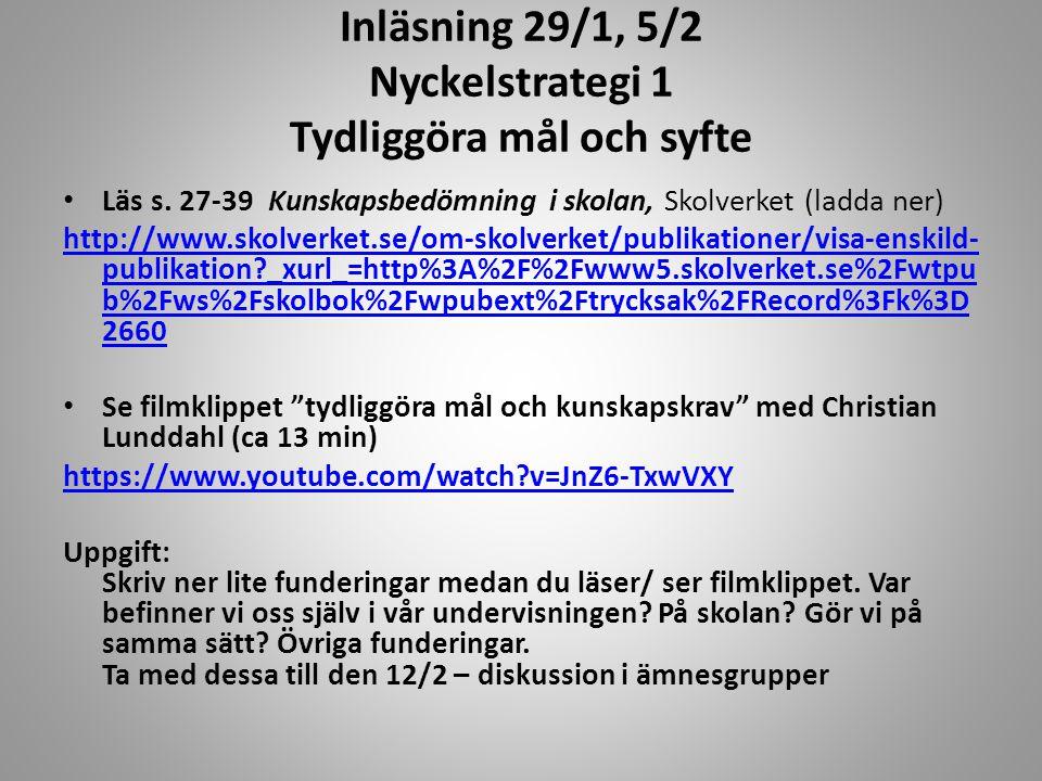 Inläsning 29/1, 5/2 Nyckelstrategi 1 Tydliggöra mål och syfte Läs s. 27-39 Kunskapsbedömning i skolan, Skolverket (ladda ner) http://www.skolverket.se