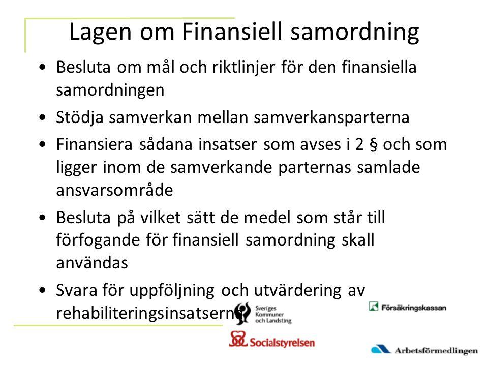 Lagen om Finansiell samordning Besluta om mål och riktlinjer för den finansiella samordningen Stödja samverkan mellan samverkansparterna Finansiera sådana insatser som avses i 2 § och som ligger inom de samverkande parternas samlade ansvarsområde Besluta på vilket sätt de medel som står till förfogande för finansiell samordning skall användas Svara för uppföljning och utvärdering av rehabiliteringsinsatserna