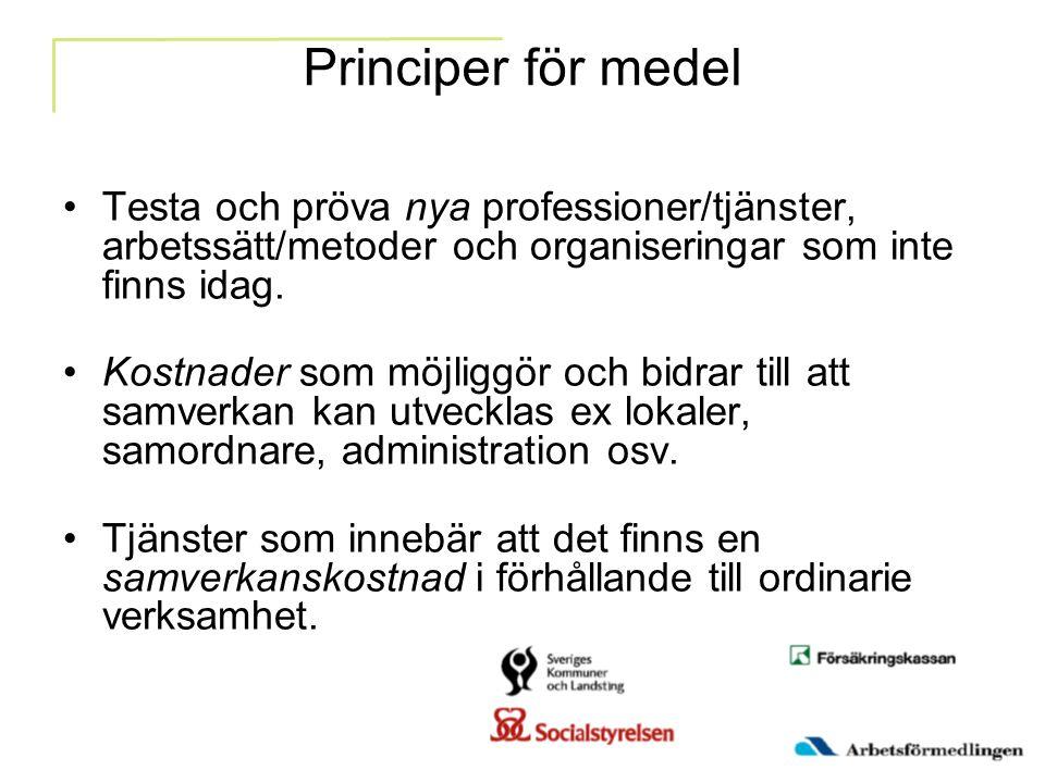Principer för medel Testa och pröva nya professioner/tjänster, arbetssätt/metoder och organiseringar som inte finns idag.