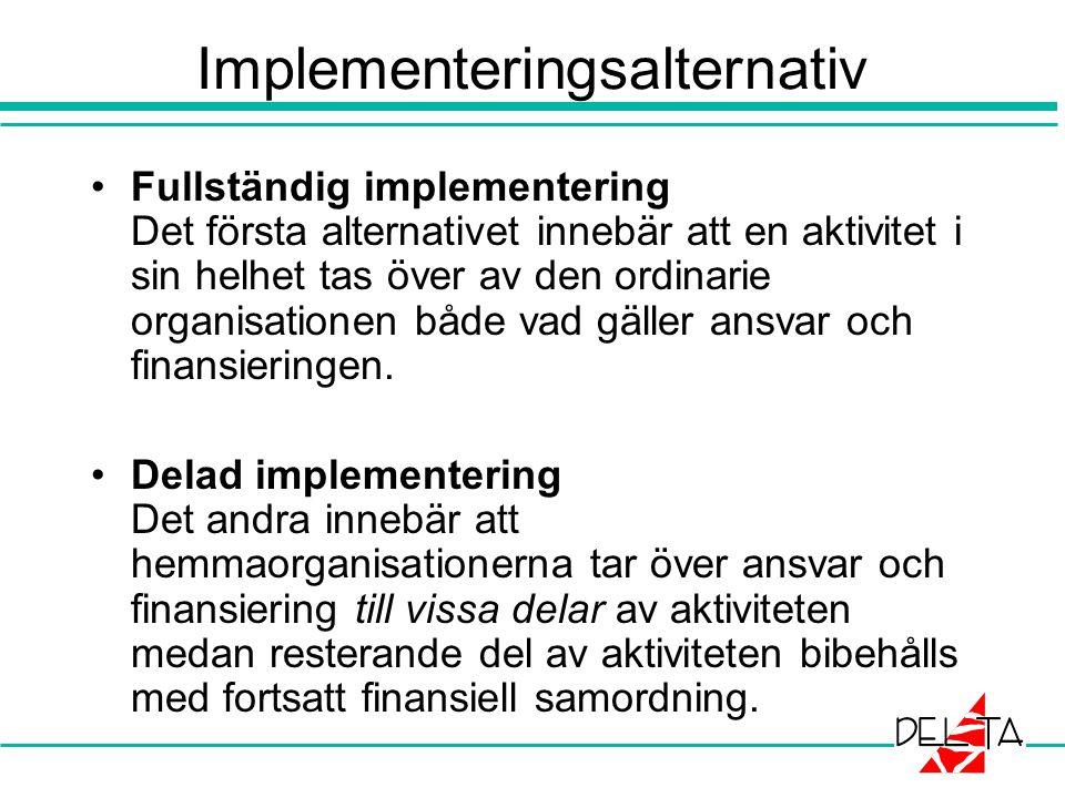 Implementeringsalternativ Fullständig implementering Det första alternativet innebär att en aktivitet i sin helhet tas över av den ordinarie organisationen både vad gäller ansvar och finansieringen.