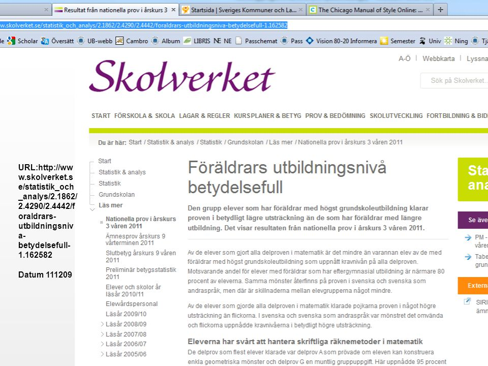 URL:http://ww w.skolverket.s e/statistik_och _analys/2.1862/ 2.4290/2.4442/f oraldrars- utbildningsniv a- betydelsefull- 1.162582 Datum 111209