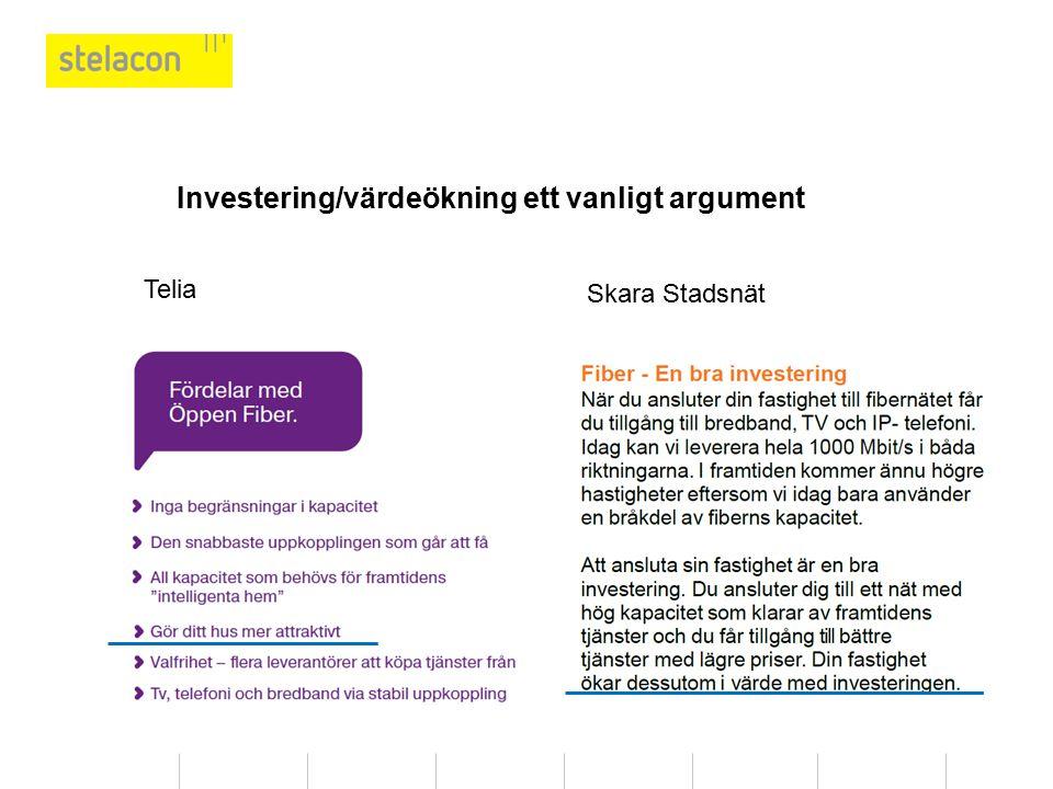 Skara Stadsnät Telia Investering/värdeökning ett vanligt argument