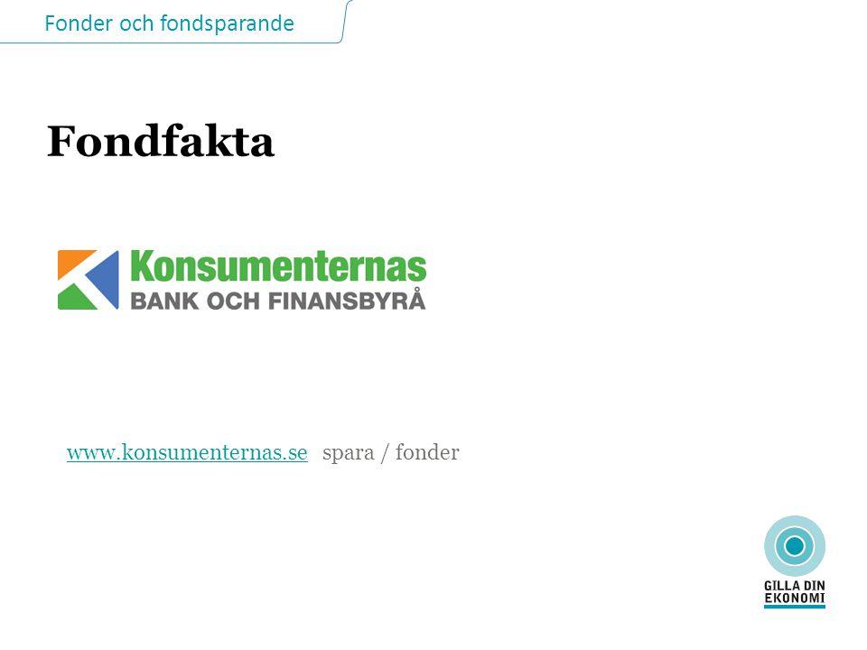 Fonder och fondsparande Fondfakta www.konsumenternas.sewww.konsumenternas.se spara / fonder