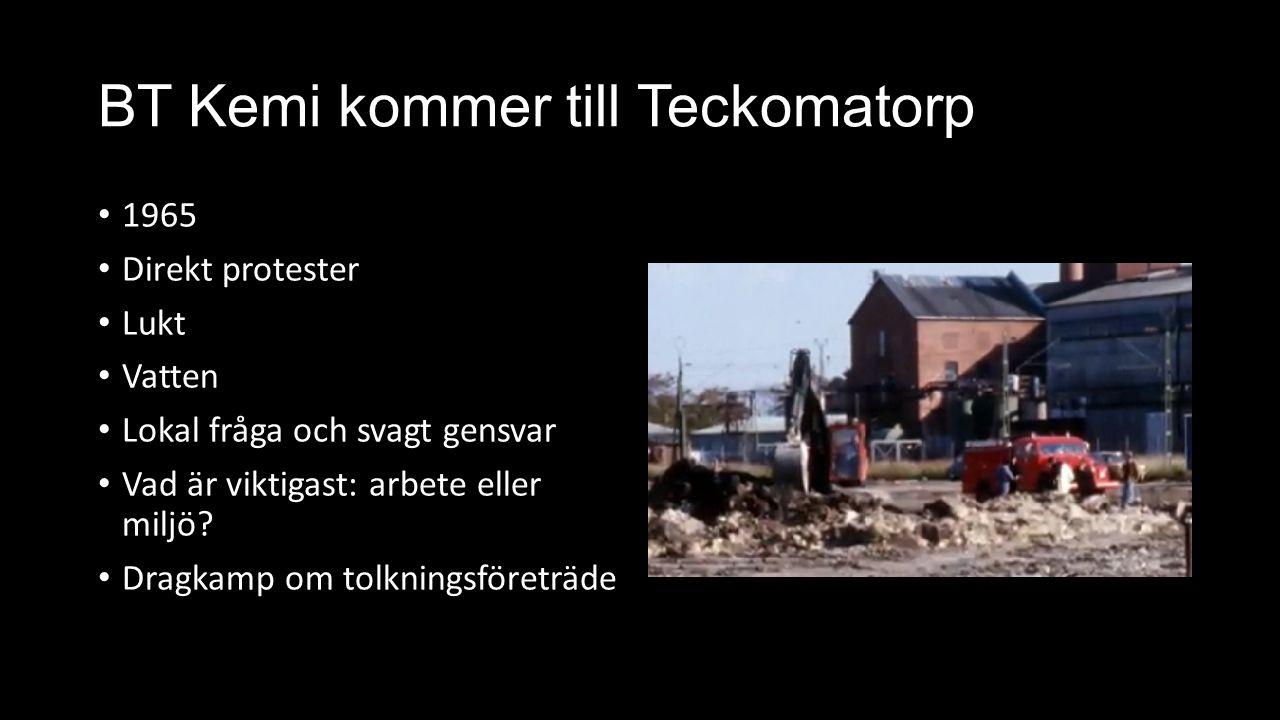 BT Kemi kommer till Teckomatorp 1965 Direkt protester Lukt Vatten Lokal fråga och svagt gensvar Vad är viktigast: arbete eller miljö? Dragkamp om tolk