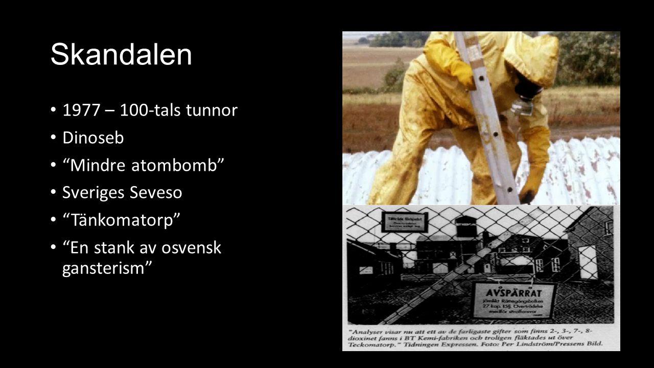 """Skandalen 1977 – 100-tals tunnor Dinoseb """"Mindre atombomb"""" Sveriges Seveso """"Tänkomatorp"""" """"En stank av osvensk gansterism"""""""