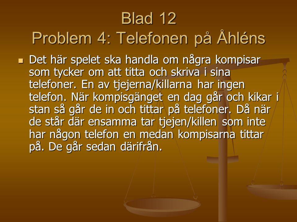 Blad 12 Problem 4: Telefonen på Åhléns Det här spelet ska handla om några kompisar som tycker om att titta och skriva i sina telefoner. En av tjejerna