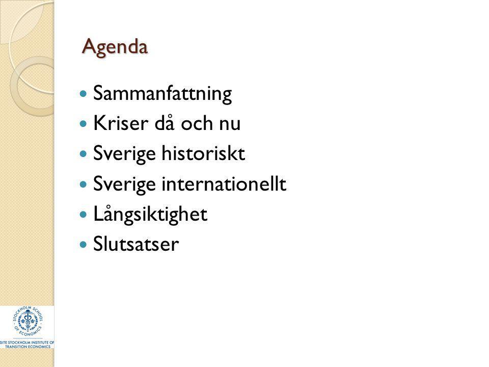 Agenda Sammanfattning Kriser då och nu Sverige historiskt Sverige internationellt Långsiktighet Slutsatser