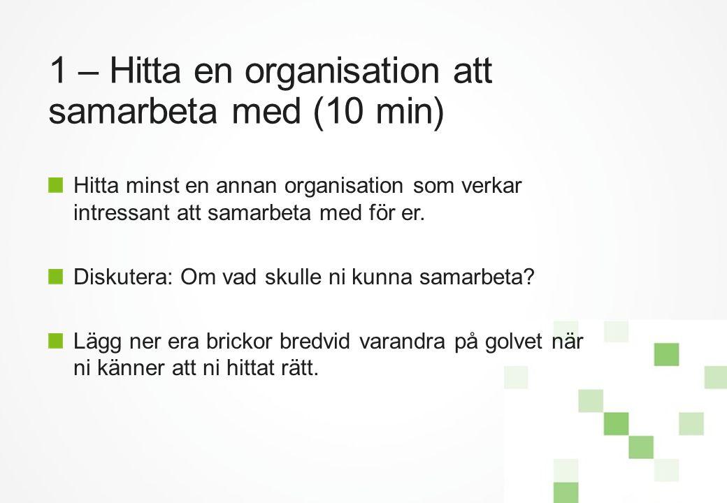 1 – Hitta en organisation att samarbeta med (10 min) Hitta minst en annan organisation som verkar intressant att samarbeta med för er. Diskutera: Om v