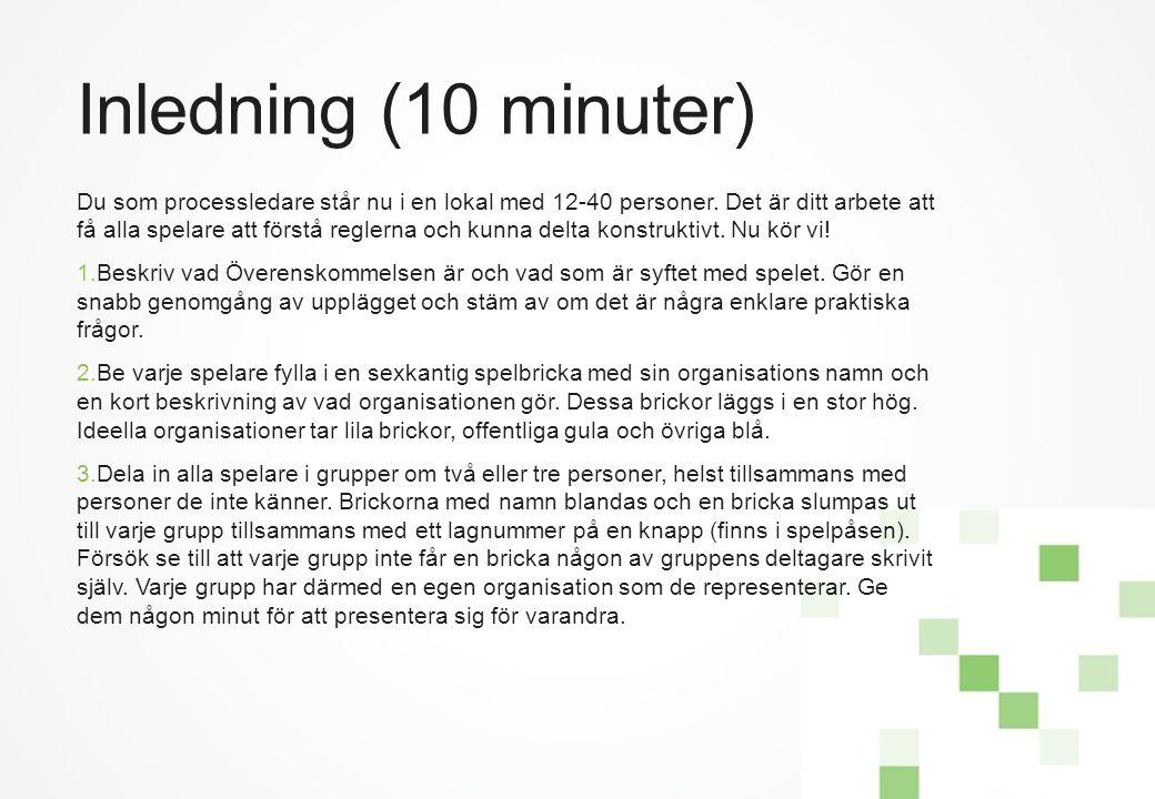 Inledning (10 minuter) Du som processledare står nu i en lokal med 12-40 personer. Det är ditt arbete att få alla spelare att förstå reglerna och kunn