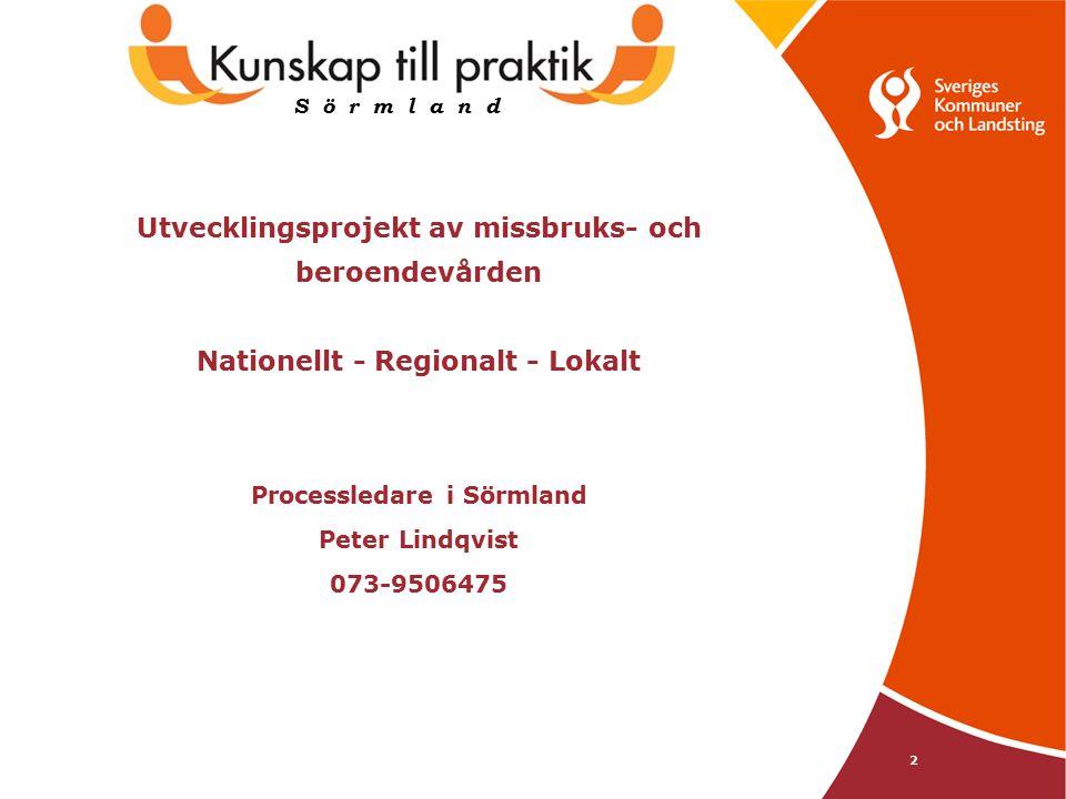 2 Utvecklingsprojekt av missbruks- och beroendevården Nationellt - Regionalt - Lokalt Processledare i Sörmland Peter Lindqvist 073-9506475 S ö r m l a n d