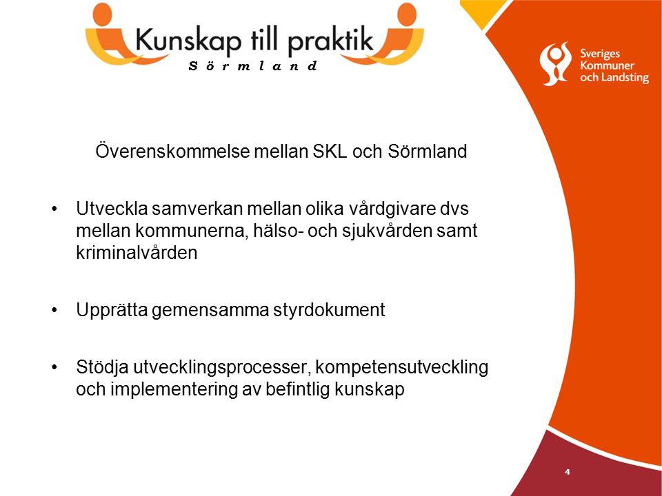 4 Överenskommelse mellan SKL och Sörmland Utveckla samverkan mellan olika vårdgivare dvs mellan kommunerna, hälso- och sjukvården samt kriminalvården Upprätta gemensamma styrdokument Stödja utvecklingsprocesser, kompetensutveckling och implementering av befintlig kunskap S ö r m l a n d