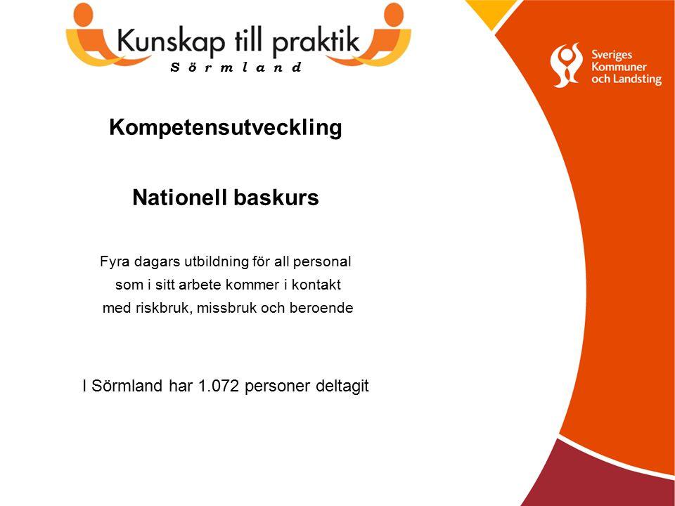 Kompetensutveckling Nationell baskurs Fyra dagars utbildning för all personal som i sitt arbete kommer i kontakt med riskbruk, missbruk och beroende I Sörmland har 1.072 personer deltagit S ö r m l a n d