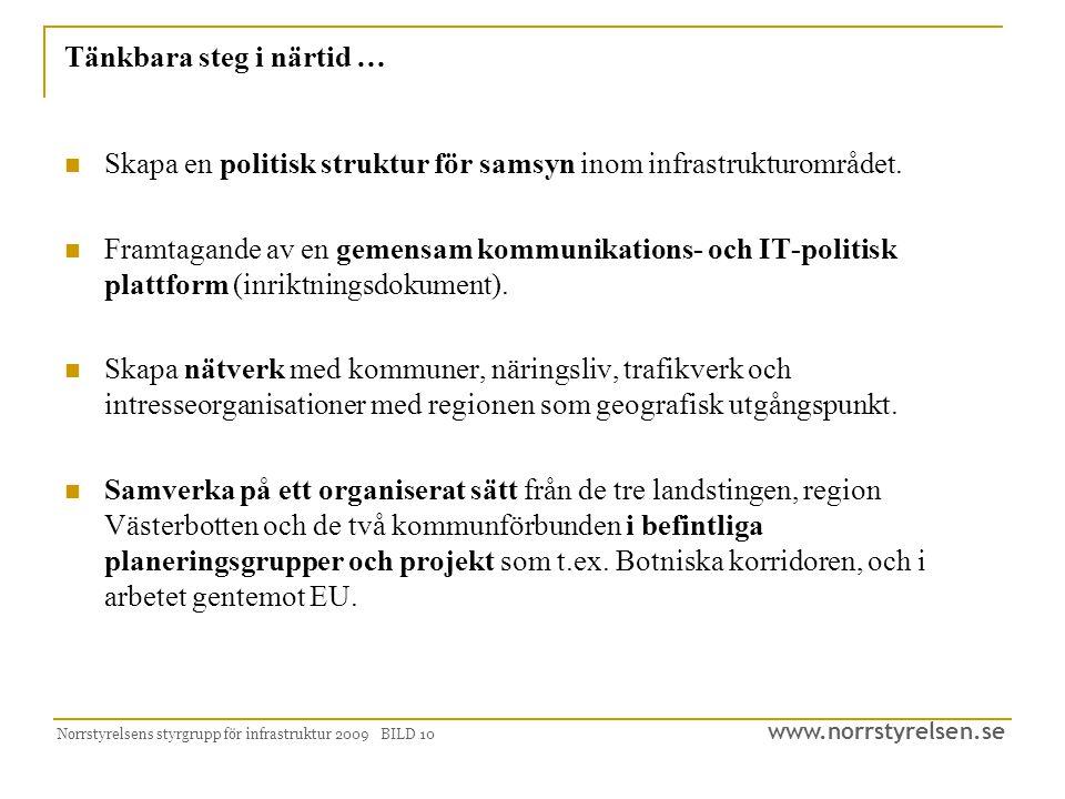 www.norrstyrelsen.se Norrstyrelsens styrgrupp för infrastruktur 2009 BILD 10 Tänkbara steg i närtid … Skapa en politisk struktur för samsyn inom infrastrukturområdet.
