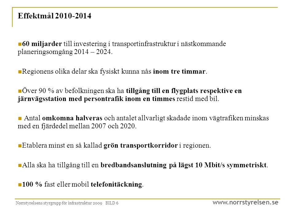 www.norrstyrelsen.se Norrstyrelsens styrgrupp för infrastruktur 2009 BILD 6 Effektmål 2010-2014 60 miljarder till investering i transportinfrastruktur i nästkommande planeringsomgång 2014 – 2024.