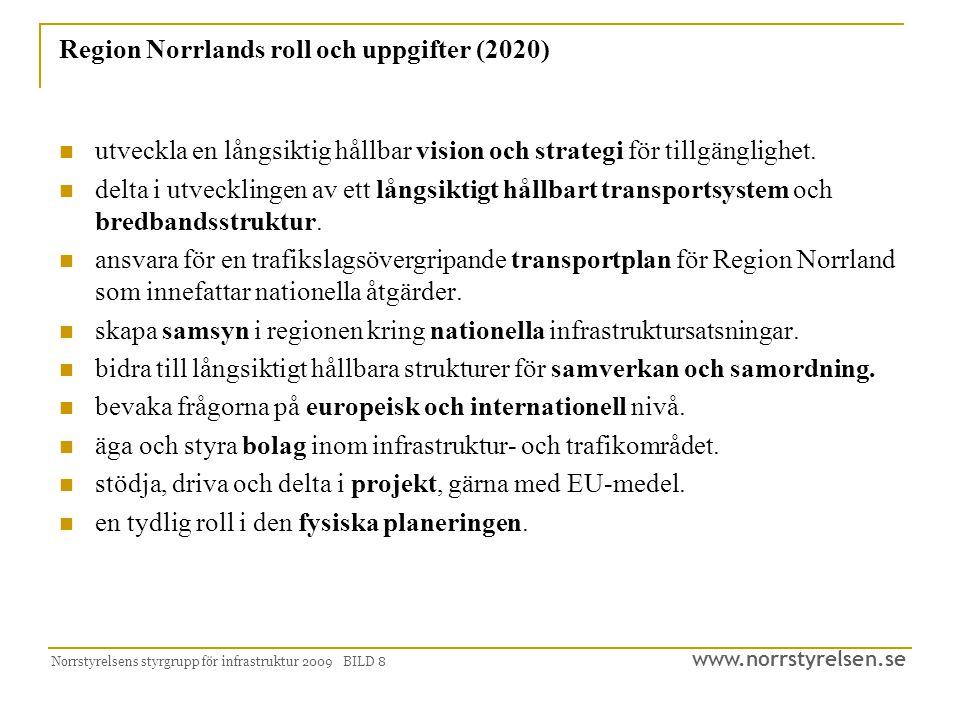 www.norrstyrelsen.se Norrstyrelsens styrgrupp för infrastruktur 2009 BILD 8 Region Norrlands roll och uppgifter (2020) utveckla en långsiktig hållbar vision och strategi för tillgänglighet.
