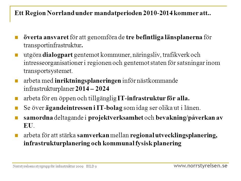 www.norrstyrelsen.se Norrstyrelsens styrgrupp för infrastruktur 2009 BILD 9 Ett Region Norrland under mandatperioden 2010-2014 kommer att..