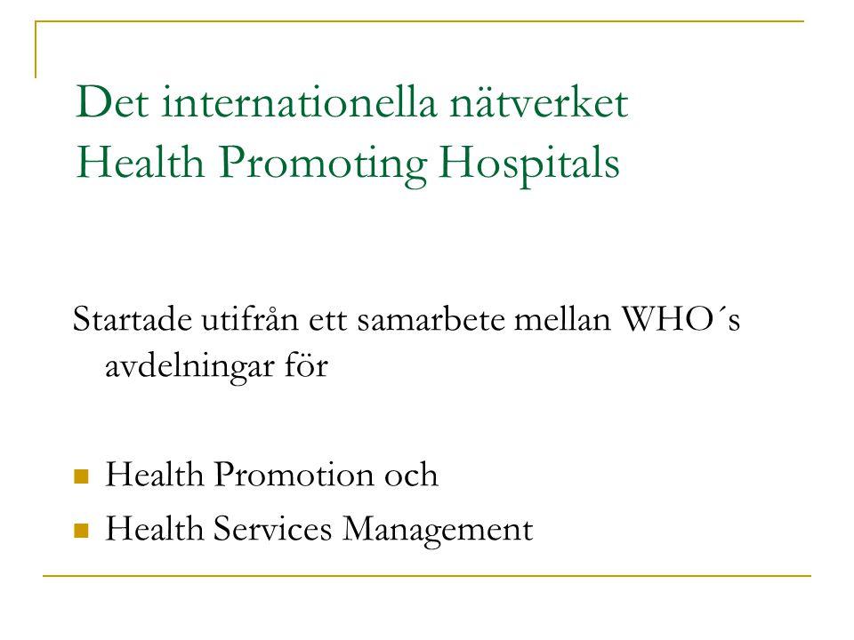 Det internationella nätverket Health Promoting Hospitals Startade utifrån ett samarbete mellan WHO´s avdelningar för Health Promotion och Health Services Management