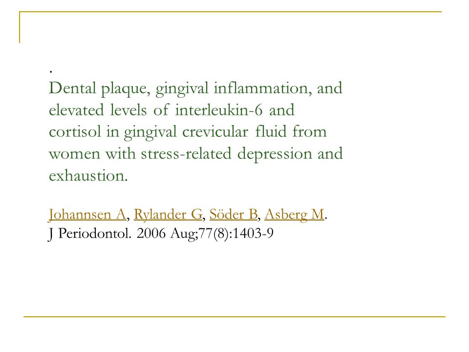 . Dental plaque, gingival inflammation, and elevated levels of interleukin-6 and cortisol in gingival crevicular fluid from women with stress-related
