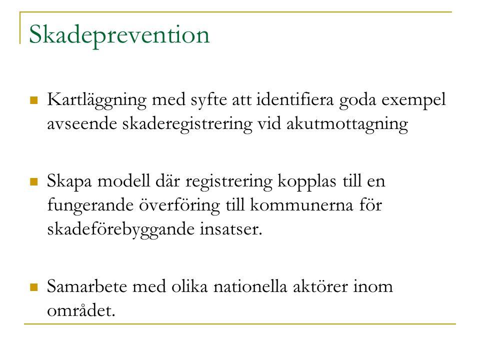 Skadeprevention Kartläggning med syfte att identifiera goda exempel avseende skaderegistrering vid akutmottagning Skapa modell där registrering kopplas till en fungerande överföring till kommunerna för skadeförebyggande insatser.