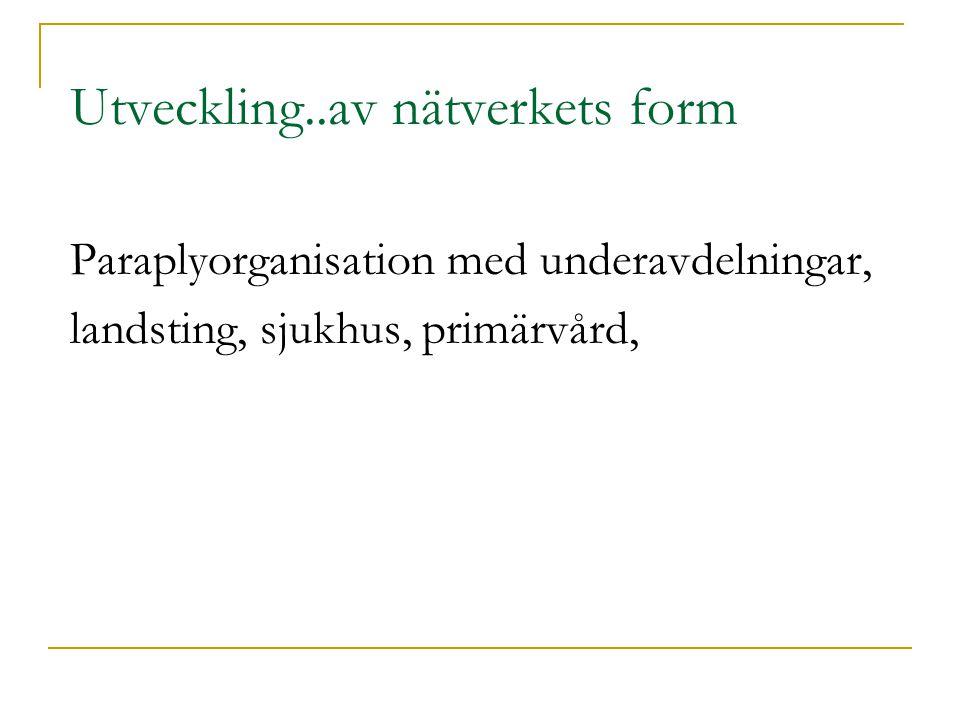 Utveckling..av nätverkets form Paraplyorganisation med underavdelningar, landsting, sjukhus, primärvård,