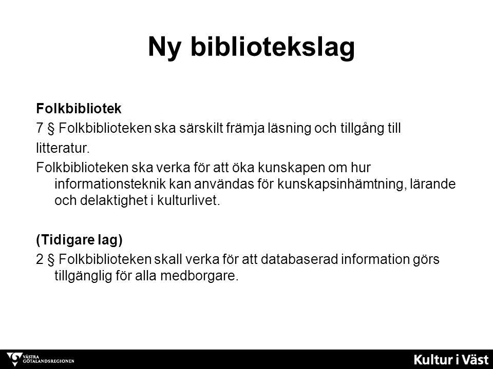 Ny bibliotekslag Folkbibliotek 7 § Folkbiblioteken ska särskilt främja läsning och tillgång till litteratur.