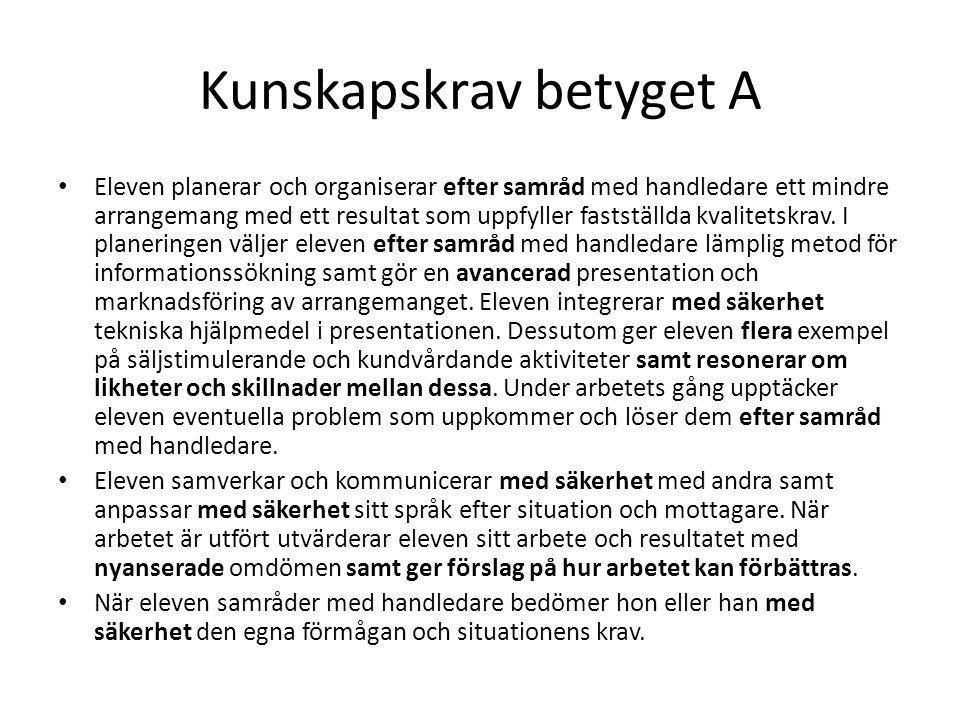 Kunskapskrav betyget A Eleven planerar och organiserar efter samråd med handledare ett mindre arrangemang med ett resultat som uppfyller fastställda k