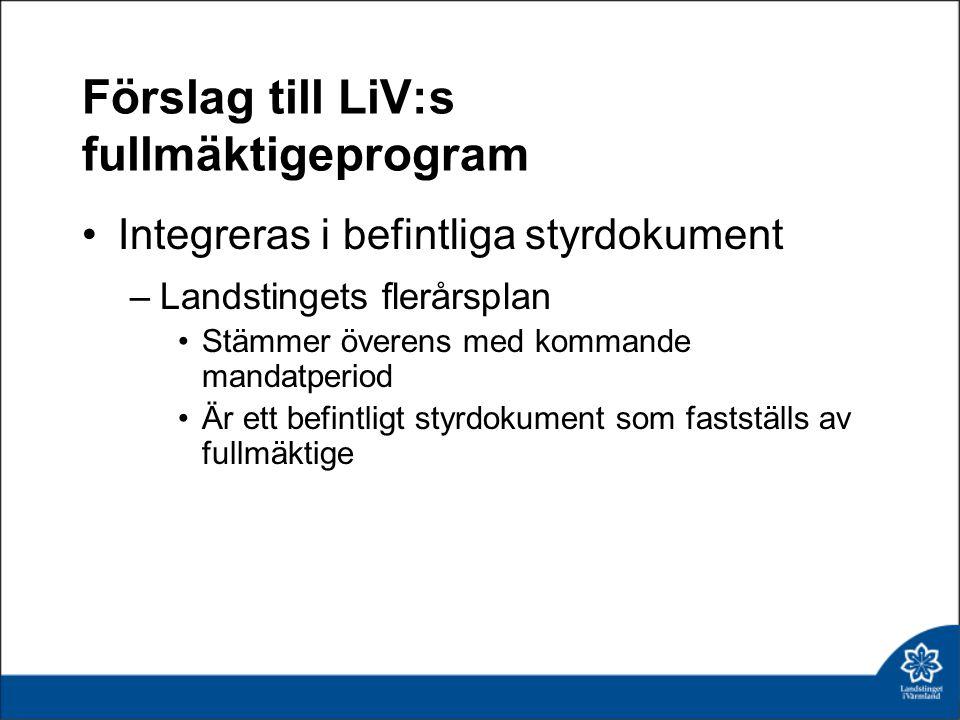 Förslag till LiV:s fullmäktigeprogram Integreras i befintliga styrdokument –Landstingets flerårsplan Stämmer överens med kommande mandatperiod Är ett
