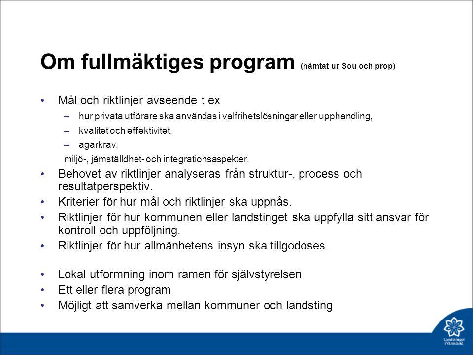 Om fullmäktiges program (hämtat ur Sou och prop) Mål och riktlinjer avseende t ex –hur privata utförare ska användas i valfrihetslösningar eller uppha