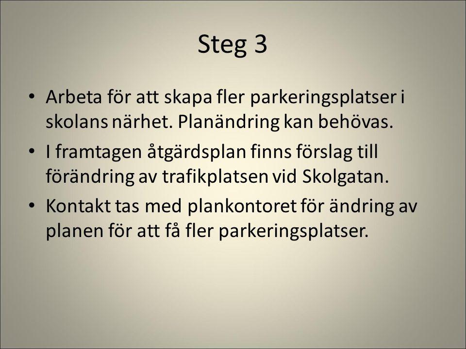 Steg 3 Arbeta för att skapa fler parkeringsplatser i skolans närhet. Planändring kan behövas. I framtagen åtgärdsplan finns förslag till förändring av