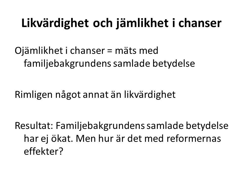 Reformernas effekter på familjegrupper Era resultat (kapitel 11, dock ej redovisade): inga gruppskillnader i effekter på skolresultaten.