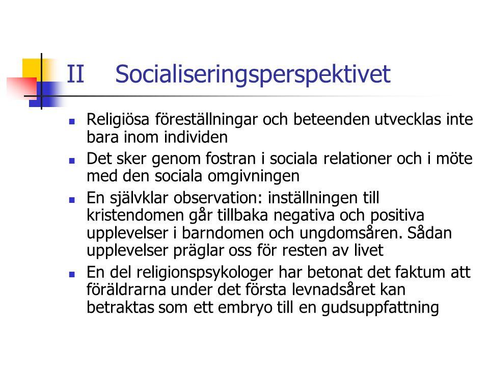 II Socialiseringsperspektivet Religiösa föreställningar och beteenden utvecklas inte bara inom individen Det sker genom fostran i sociala relationer o