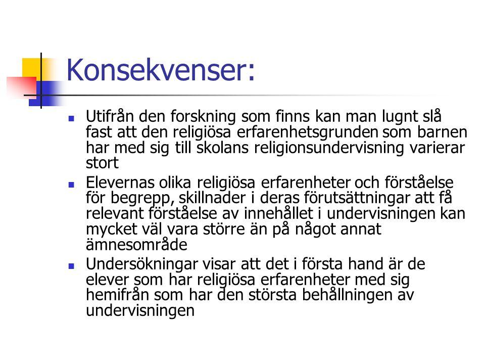 Konsekvenser: Utifrån den forskning som finns kan man lugnt slå fast att den religiösa erfarenhetsgrunden som barnen har med sig till skolans religion