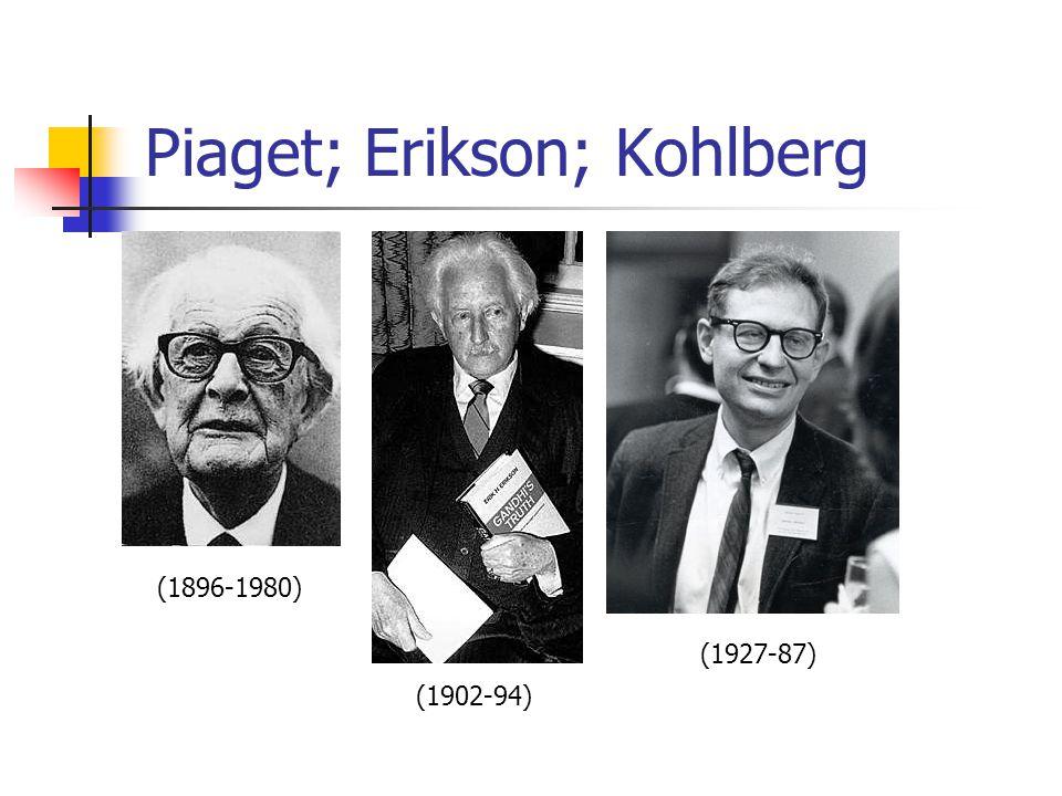 Piaget; Erikson; Kohlberg (1896-1980) (1902-94) (1927-87)