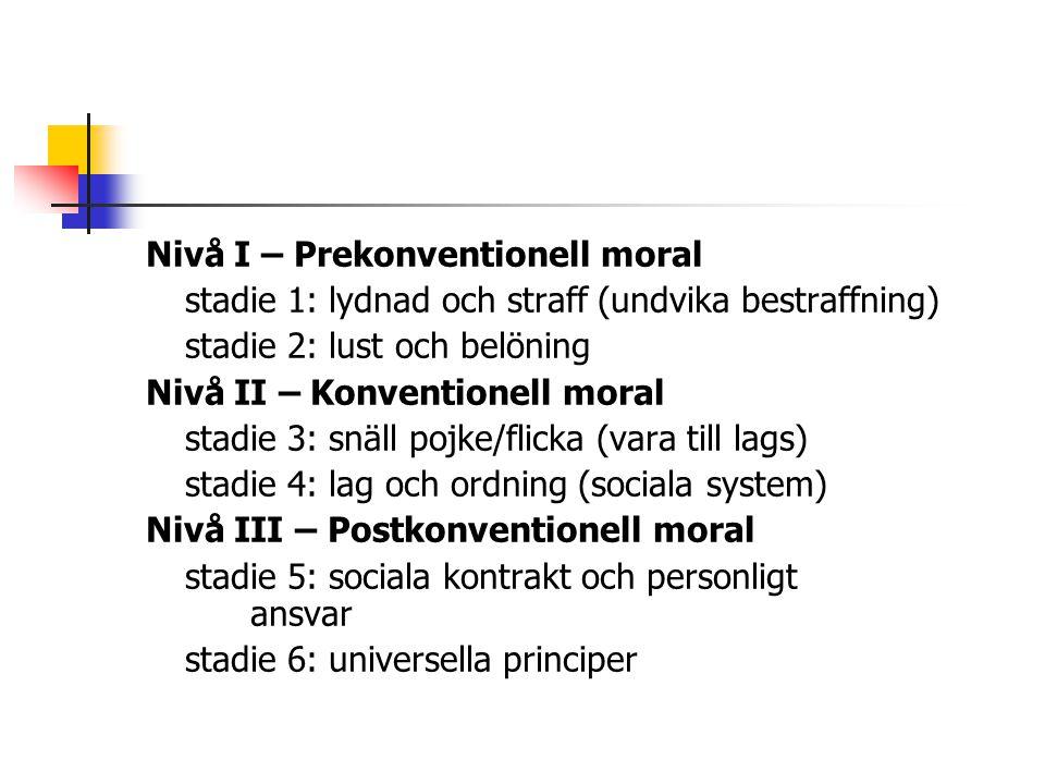 Nivå I – Prekonventionell moral stadie 1: lydnad och straff (undvika bestraffning) stadie 2: lust och belöning Nivå II – Konventionell moral stadie 3: