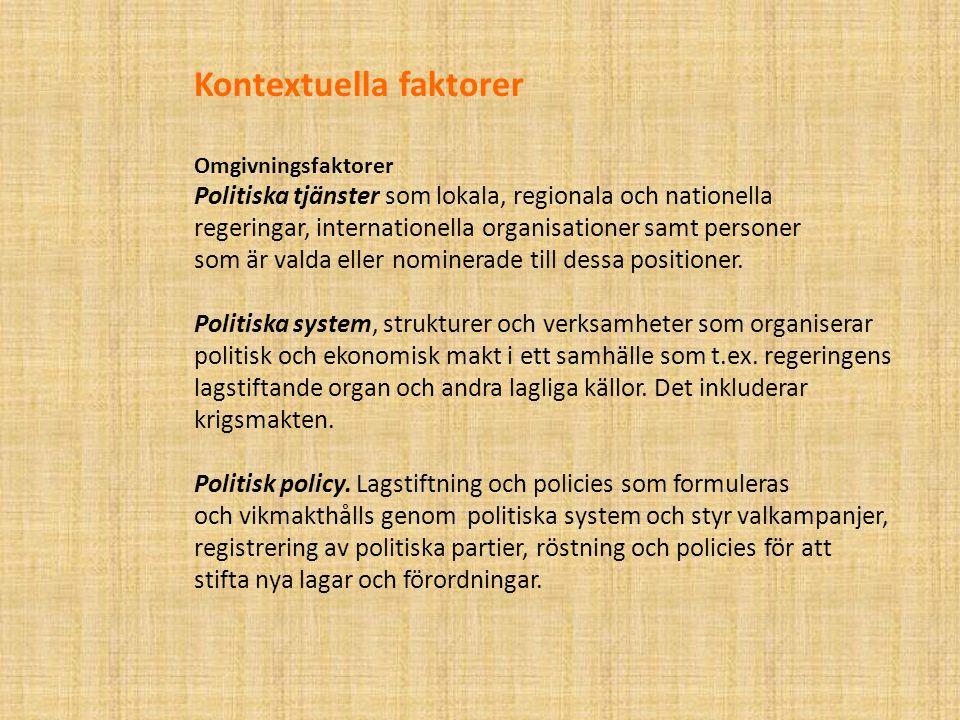 Kontextuella faktorer Omgivningsfaktorer Politiska tjänster som lokala, regionala och nationella regeringar, internationella organisationer samt personer som är valda eller nominerade till dessa positioner.