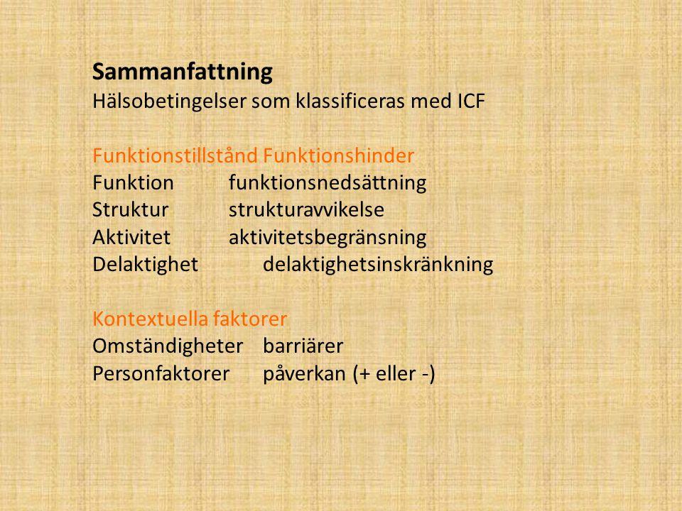 Sammanfattning Hälsobetingelser som klassificeras med ICF FunktionstillståndFunktionshinder Funktionfunktionsnedsättning Strukturstrukturavvikelse Aktivitetaktivitetsbegränsning Delaktighetdelaktighetsinskränkning Kontextuella faktorer Omständigheterbarriärer Personfaktorerpåverkan (+ eller -)