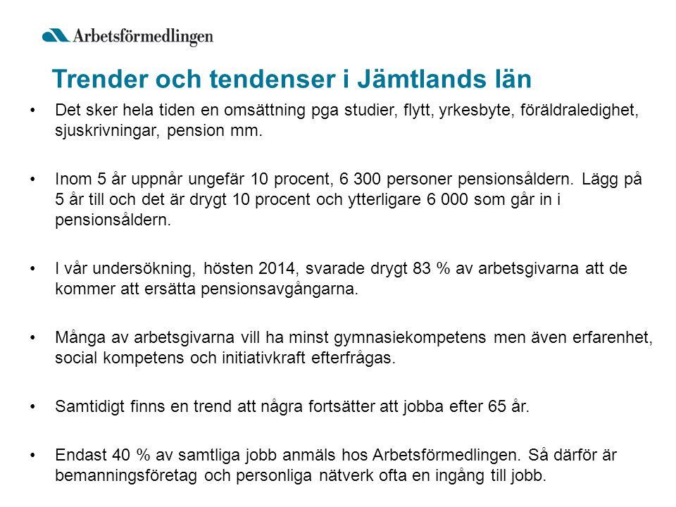 Trender och tendenser i Jämtlands län Det sker hela tiden en omsättning pga studier, flytt, yrkesbyte, föräldraledighet, sjuskrivningar, pension mm.