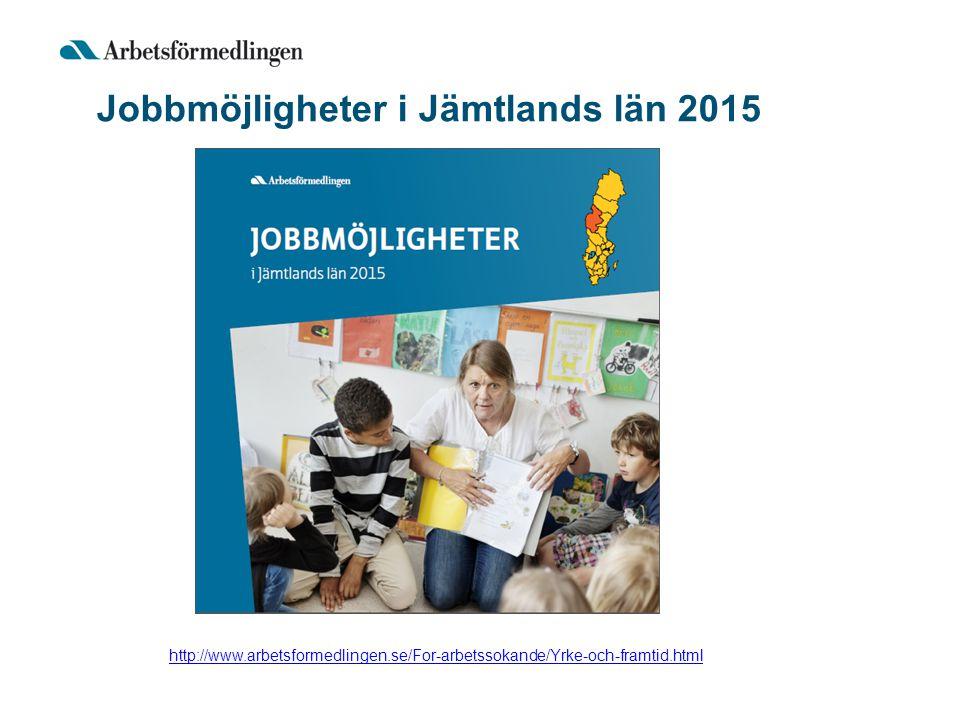 Jobbmöjligheter i Jämtlands län 2015 http://www.arbetsformedlingen.se/For-arbetssokande/Yrke-och-framtid.html