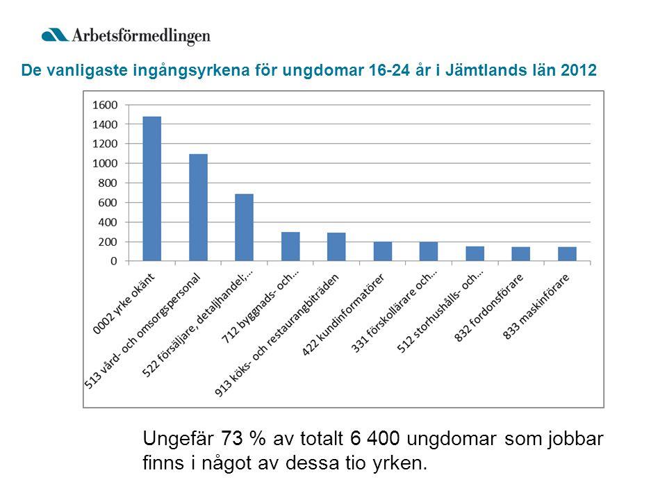 De vanligaste ingångsyrkena för ungdomar 16-24 år i Jämtlands län 2012 Ungefär 73 % av totalt 6 400 ungdomar som jobbar finns i något av dessa tio yrken.