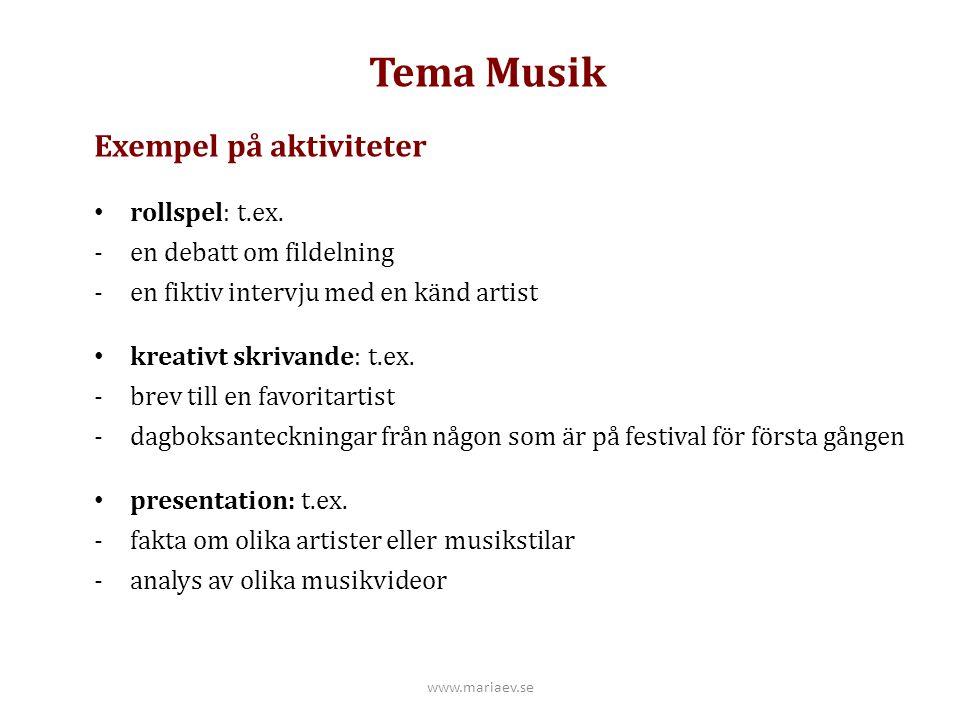 Tema Musik Exempel på aktiviteter rollspel: t.ex. -en debatt om fildelning -en fiktiv intervju med en känd artist kreativt skrivande: t.ex. -brev till