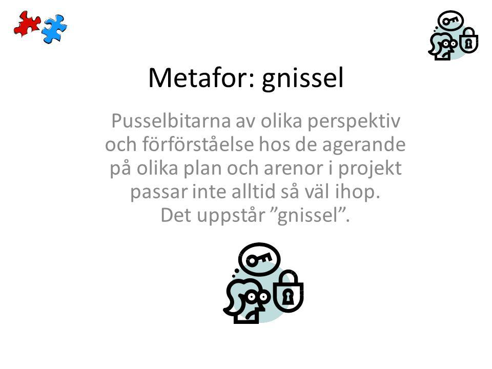 Metafor: gnissel Pusselbitarna av olika perspektiv och förförståelse hos de agerande på olika plan och arenor i projekt passar inte alltid så väl ihop.