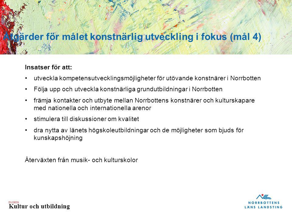 DIVISION Kultur och utbildning Insatser för att: utveckla kompetensutvecklingsmöjligheter för utövande konstnärer i Norrbotten Följa upp och utveckla konstnärliga grundutbildningar i Norrbotten främja kontakter och utbyte mellan Norrbottens konstnärer och kulturskapare med nationella och internationella arenor stimulera till diskussioner om kvalitet dra nytta av länets högskoleutbildningar och de möjligheter som bjuds för kunskapshöjning Återväxten från musik- och kulturskolor Åtgärder för målet konstnärlig utveckling i fokus (mål 4)