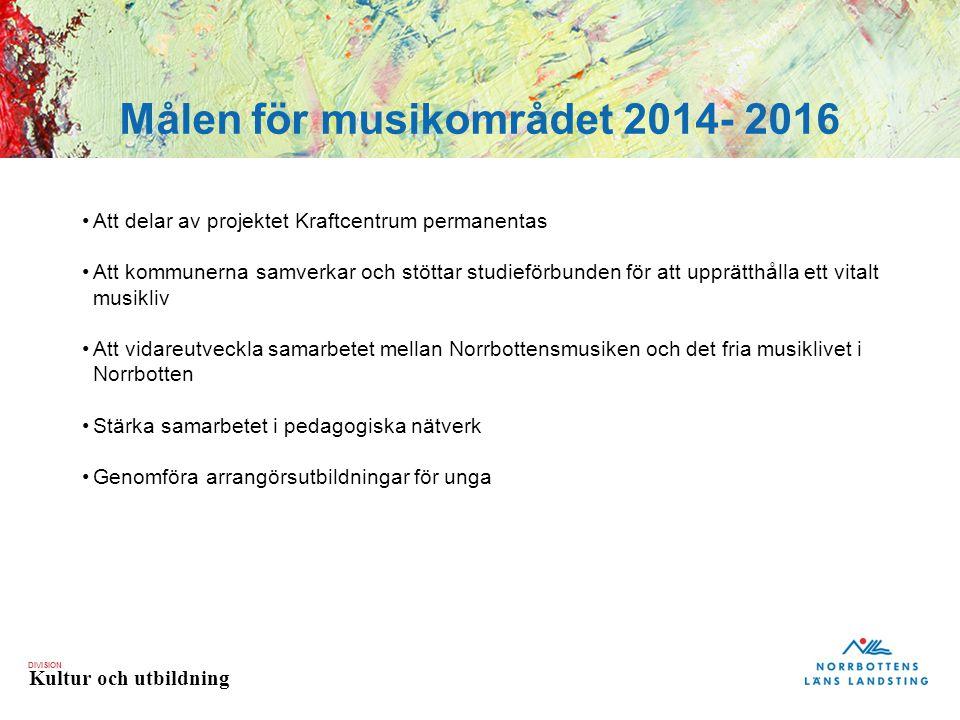 DIVISION Kultur och utbildning Målen för musikområdet 2014- 2016 Att delar av projektet Kraftcentrum permanentas Att kommunerna samverkar och stöttar studieförbunden för att upprätthålla ett vitalt musikliv Att vidareutveckla samarbetet mellan Norrbottensmusiken och det fria musiklivet i Norrbotten Stärka samarbetet i pedagogiska nätverk Genomföra arrangörsutbildningar för unga Målen för musikområdet 2014- 2016