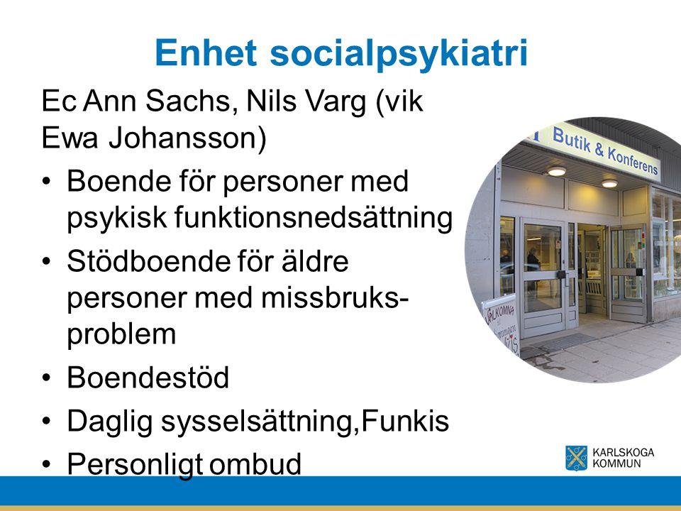 Enhet socialpsykiatri Ec Ann Sachs, Nils Varg (vik Ewa Johansson) Boende för personer med psykisk funktionsnedsättning Stödboende för äldre personer m