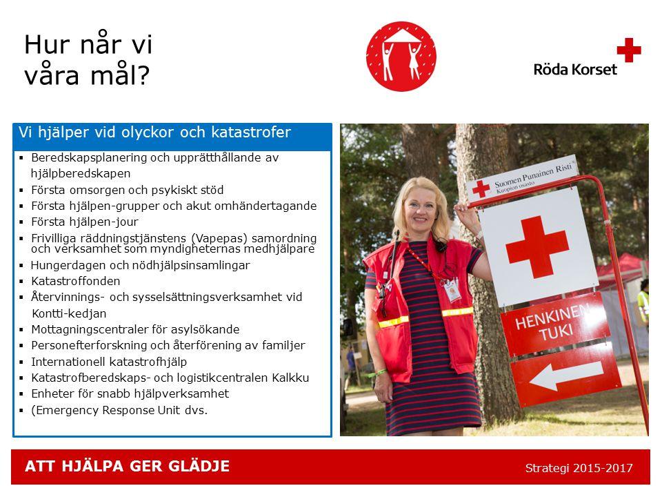 ATT HJÄLPA GER GLÄDJE Strategi 2015-2017 Vi hjälper vid olyckor och katastrofer  Beredskapsplanering och upprätthållande av hjälpberedskapen  Första